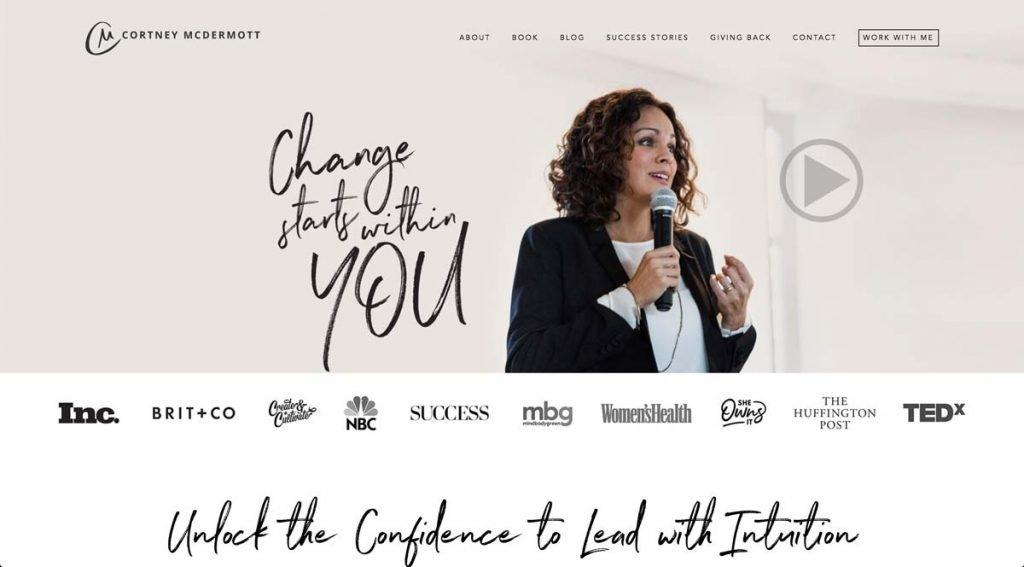 Life Coach Website screenshot - Courtney McDermott